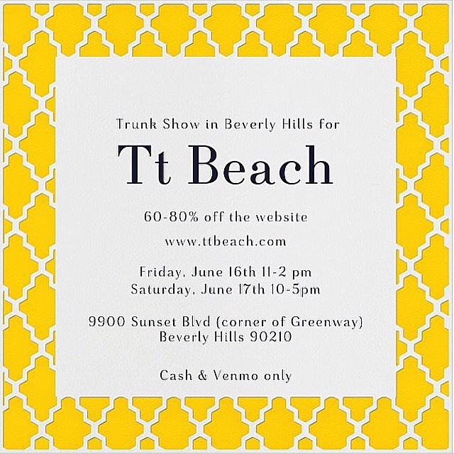 Tt Beach Trunk Show in Beverly Hills! Great Deals onhellip